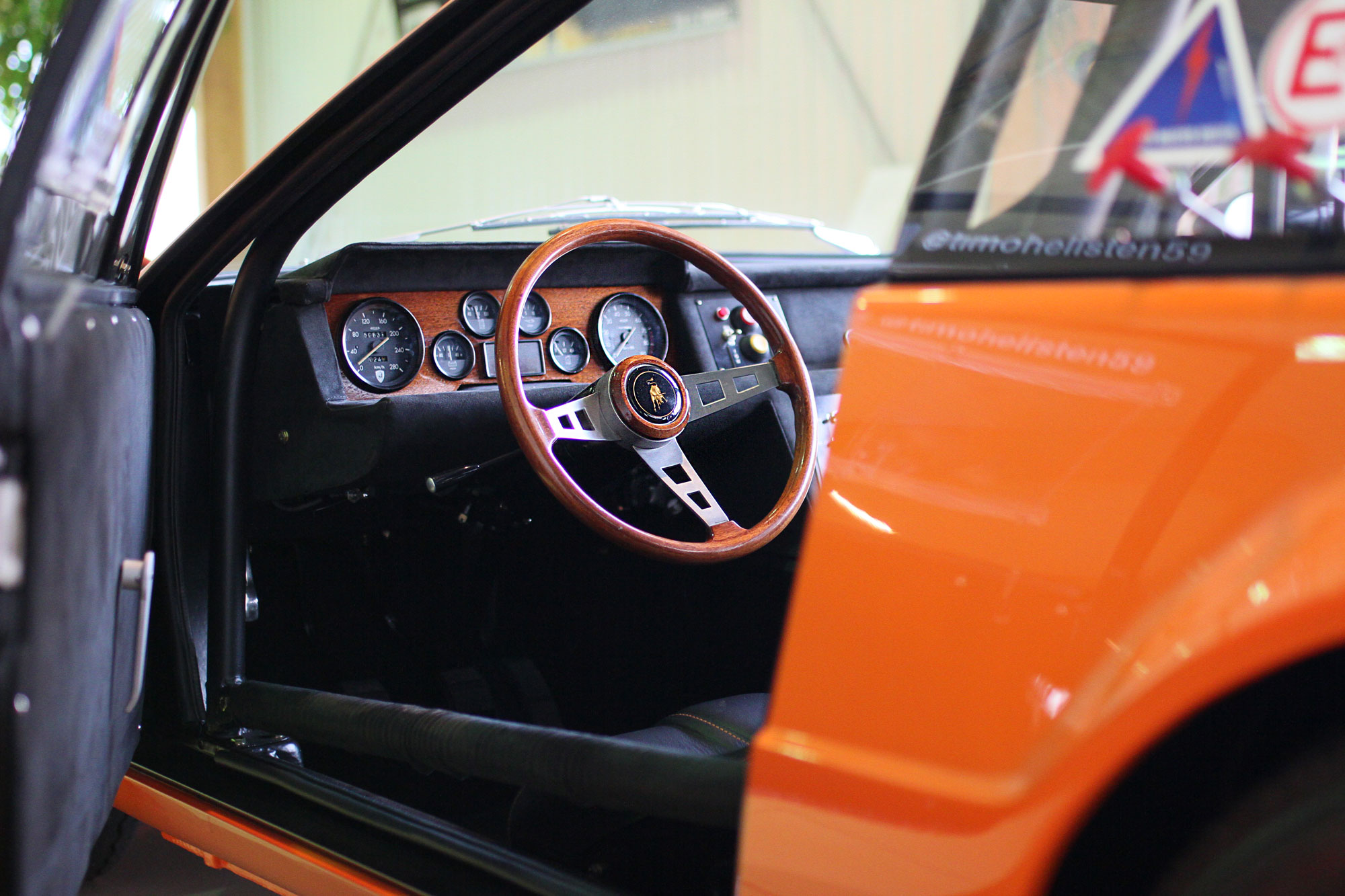 Lamborghini Jamara Orange Bob Wallace Tribute Wooden steering wheel