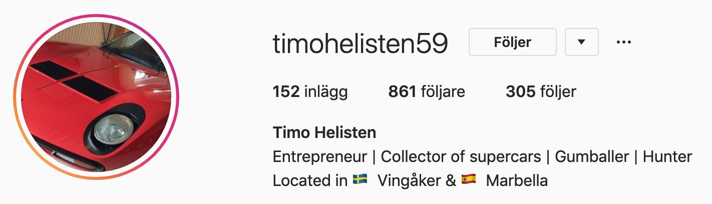 TImo Helisten´s Instagram konto