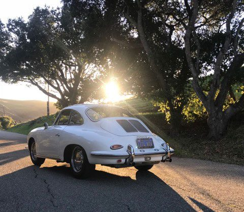 Porsche 356 white in sunset