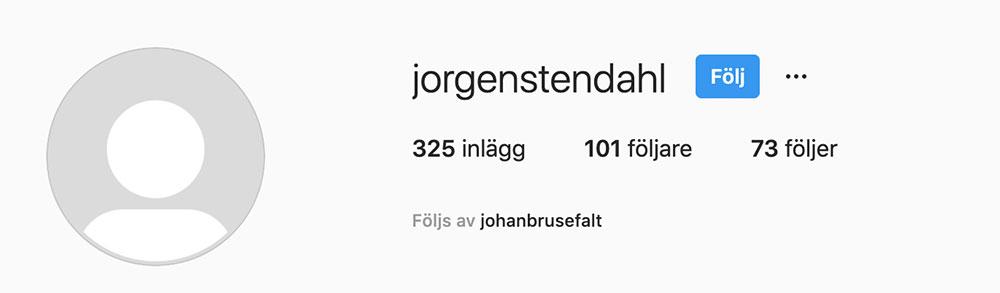 Jörgen Stendahl´s Instagramkonto