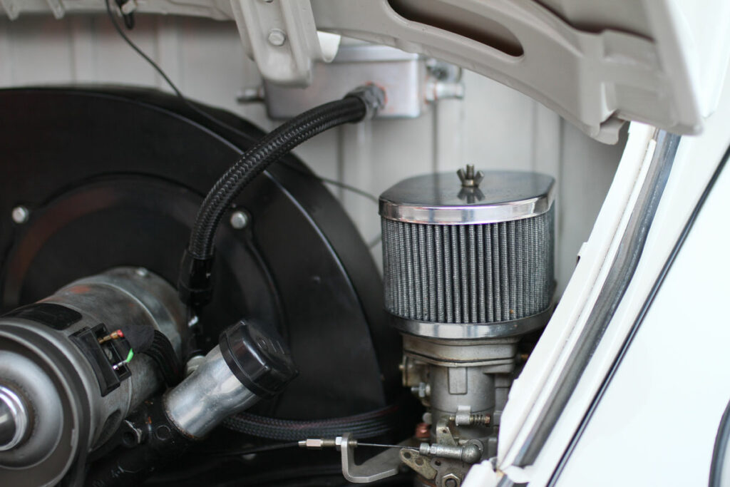 Air filter in a engine bay of Beetle 1967